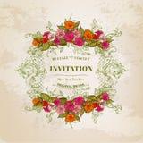 Tarjeta floral con el marco del vintage stock de ilustración