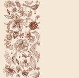 Tarjeta floral con estilo, flores drenadas mano Foto de archivo