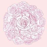 Tarjeta floral con las rosas Fotos de archivo