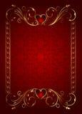 Tarjeta floral con los corazones para el día de tarjeta del día de San Valentín Imagen de archivo libre de regalías