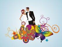 Tarjeta floral creativa Wedding de los pares Fotografía de archivo libre de regalías