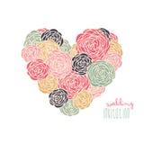 Tarjeta floral de la invitación del corazón Fotos de archivo libres de regalías
