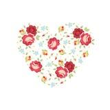 Tarjeta floral de la invitación del corazón Foto de archivo libre de regalías