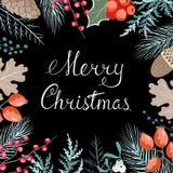 Tarjeta floral de la Navidad Fotos de archivo libres de regalías