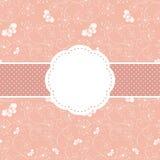 Tarjeta floral de la primavera y de la mariposa rosada de felicitación Fotos de archivo