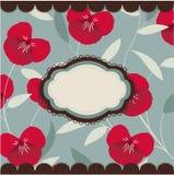 Tarjeta floral de la vendimia con el marco Imagenes de archivo