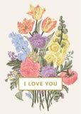 Tarjeta floral de la vendimia Ramo victoriano Fotos de archivo libres de regalías