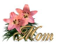 Tarjeta floral de los lirios del color de rosa del día de madres Fotos de archivo