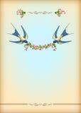 Tarjeta floral del banquete de boda con las flores, pájaros Fotografía de archivo libre de regalías