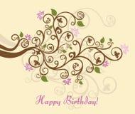Tarjeta floral del feliz cumpleaños Fotografía de archivo