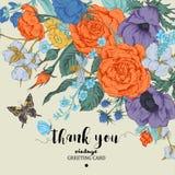 Tarjeta floral del vector del vintage con las rosas, las anémonas y la mariposa Fotografía de archivo libre de regalías