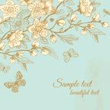 Tarjeta floral del vintage del saludo de la primavera del vector. Fotografía de archivo libre de regalías