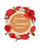 Tarjeta floral dibujada mano del vintage del verano con la amapola stock de ilustración