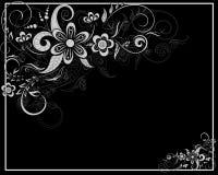 Tarjeta floral en blanco y negro Fotos de archivo libres de regalías