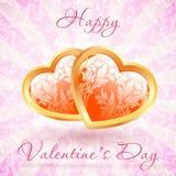 Tarjeta floral feliz del día de tarjeta del día de San Valentín Imágenes de archivo libres de regalías
