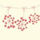 Tarjeta floral única linda con los corazones Fotos de archivo libres de regalías