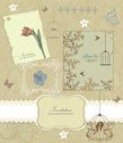 Tarjeta floral retra para los eventos Imagenes de archivo