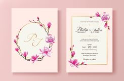 Tarjeta floral rosada de la invitación de la boda Vector Flor en flor rosada de la magnolia Fotografía de archivo libre de regalías