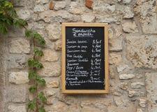 Tarjeta francesa del menú del restaurante Fotos de archivo