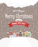 Tarjeta greating de la Navidad. Edificios del vintage con sn stock de ilustración