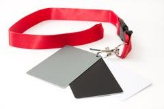 Tarjeta gris para ajustar el equilibrio blanco en la cámara del dslr Fotografía de archivo