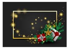 Tarjeta gris, saludo cardsred y ornamentos del fondo de la Navidad en cintas rojas del oro con el vector de oro de las cajas de l libre illustration