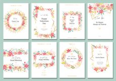 Tarjeta hermosa con las flores y las líneas del oro Ilustración del Vector