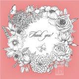 Tarjeta hermosa con una guirnalda floral redonda del jardín del vintage Imagen de archivo libre de regalías