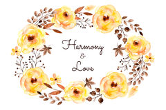 Tarjeta hermosa confeccionada de flores y de hojas amarillas ilustración del vector