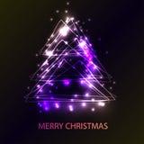 Tarjeta hermosa del día de fiesta con el árbol de navidad del estilo del techno Fotos de archivo
