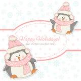 Tarjeta hermosa del invierno de la Navidad con los pingüinos Imagen de archivo libre de regalías
