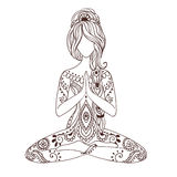 Tarjeta hermosa del ornamento con yoga del vector libre illustration