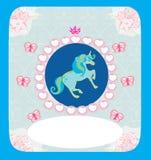 Tarjeta hermosa del unicornio Imagenes de archivo
