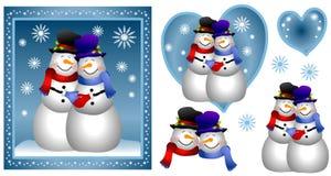 Tarjeta homosexual de los pares del muñeco de nieve libre illustration