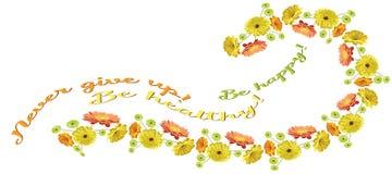 Tarjeta horizontal con una guirnalda del gerbera brillantemente dibujado de las flores libre illustration