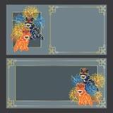 Tarjeta horizontal de la danza de león stock de ilustración