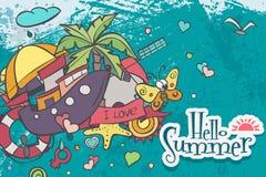 Tarjeta horizontal en un tema del verano de garabatos coloreados Imagen de archivo