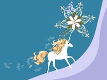 Tarjeta horizontal hermosa con unicornio mágico, el lirio blanco y las flores de campana en vector Espacio para el texto Tarjeta  ilustración del vector