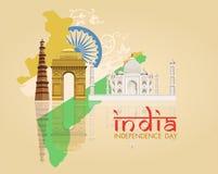 Tarjeta india de las celebraciones del Día de la Independencia ilustración del vector
