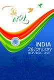 Tarjeta india del día de la república con colores y la rueda de la bandera india Imagenes de archivo