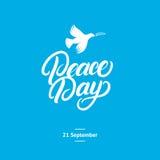 Tarjeta internacional del día de la paz, cartel Imágenes de archivo libres de regalías