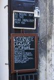 Tarjeta italiana del menú del restaurante Foto de archivo libre de regalías