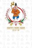 Tarjeta japonesa vestida japonés del Año Nuevo del mono ilustración del vector