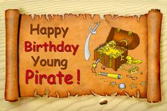 Tarjeta joven del pirata del feliz cumpleaños Imágenes de archivo libres de regalías