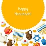 Tarjeta judía de la celebración de Jánuca con los objetos del día de fiesta libre illustration