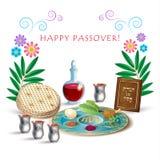 Tarjeta judía del seder de Pesach del día de fiesta de la pascua judía Imágenes de archivo libres de regalías
