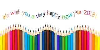 Tarjeta 2018, lápices coloridos de felicitación de la Feliz Año Nuevo aislados en blanco Imagen de archivo
