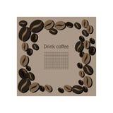 Tarjeta ligera con los granos de café Foto de archivo