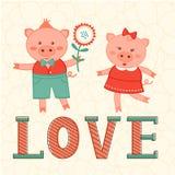 Tarjeta linda con dos cerdos en amor Fotografía de archivo