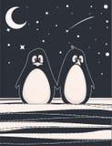 Tarjeta linda con los pingüinos Fotografía de archivo libre de regalías